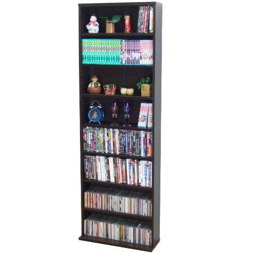 『クロシオ 薄型 文庫書棚 ブラウン 幅60cm高180cm コミック本棚 漫画本棚』の1枚目の画像