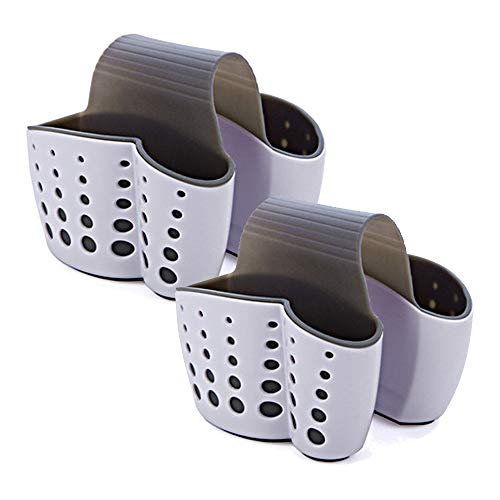 HOSTK 2 paquetes Sillín Colgante Fregadero Jabón Porta esponja Cesta de drenaje Más grueso Plástico doble Soporte de cepillo de limpieza Organizador de almacenamiento Baño Cocina