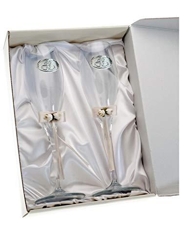 Copas 25 aniversario bodas de plata personalizadas con grabado en cristal lazo