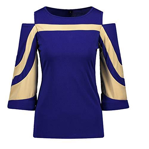 Top Style Patchwork - Camiseta de manga de murciélago para mujer Azul azul M