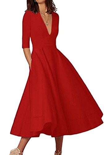 OMZIN Damen Swing Cocktail Kleid Hohe Taillen Rockabilly Kleid Tief-V-Ausschnitt Kleid Rot L