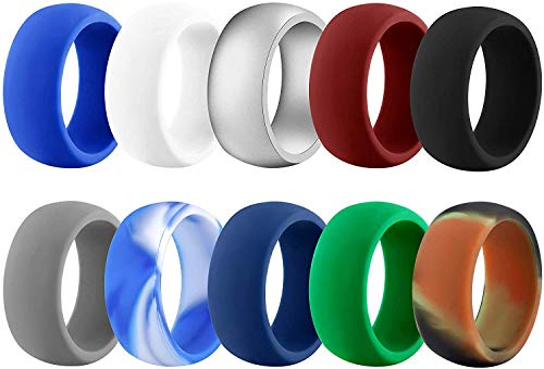 Rinspyre 10 Pack Silicone Wedding Ring for Men Rubber Bands, Black White Blue Silver Gray Size R 1/2