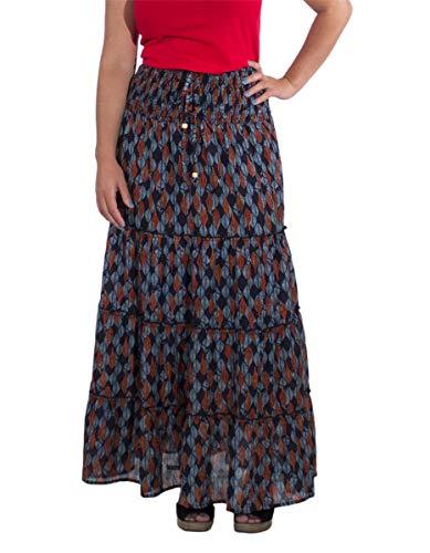 Coline Falda Larga sonrió al tamaño de Vuelo Falda de algodón Largo Alineada Estilo Indio Boho Hippie étnico (Marina, Talla única)