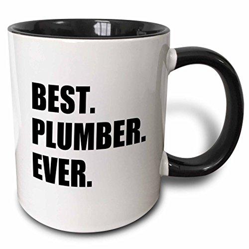 3dRose Best Plumber Ever Fun Plumbing Job Appreciation Gift Black Text Two Tone Mug, 1 Count (Pack of 1)