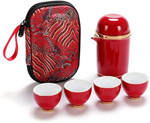 TEAYASON Juego de té portátil clásico Kungfu tetera cuatro tazas de té con bandeja de té de cerámica (color: rojo, tamaño: un tamaño), rojo, talla única