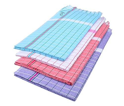 Gamchha - Juego de 4 toallas de baño de algodón (100% algodón),...