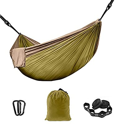 THREE VIKINGS Premium Camping Hammock with Tree Straps - Single and Double Person - Travel Backpacking Portable Outdoor Gear - Olive & Khaki - Single Person