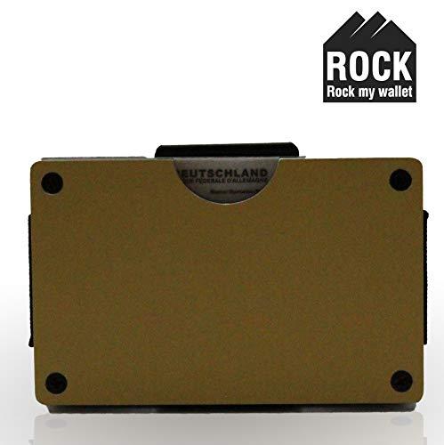 ROCK my Wallet RFID und NFC Schutz Handmade Geldbörse Brieftasche Portemonnaie Geldbeutel Kreditkartenetui Scheckkartenetui Kartenetui Etui Made in Germany Gold