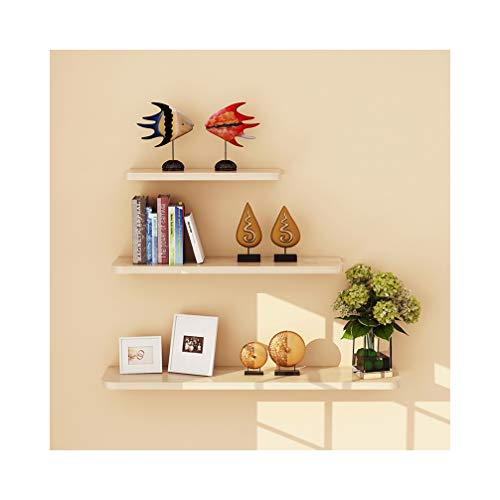 WUDENHOM Wall Floating Shelves, Set of 3 Wood Modern Pops Toys Candles Gifts Display Long Storage Shelves for Home Bedroom Office Dorm Library White Maple