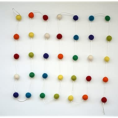 Decomod 100% Wool Felt Ball Garlands 9FT Long 35 Balls - Rainbow Colors Vivid & Bright