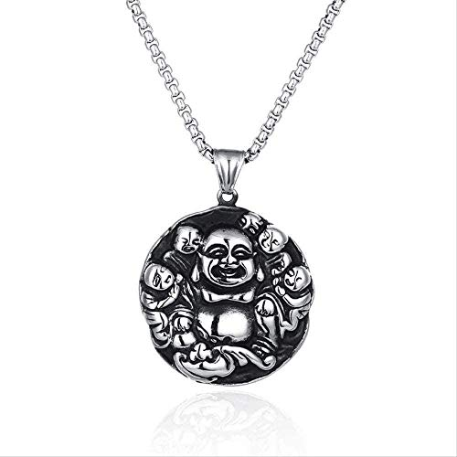 LBBYMX Co.,ltd Necklace European and American Personality Necklace Titanium Steel Pendant Necklace guo Tide Miller Buddha Hip-hop Titanium Steel Necklace Gift for Women Men Gift