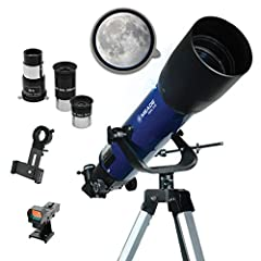"Full size tripod is lightweight and collapsible making transporting a breeze Red-dot viewfinder makes locating distant objects simple Quickly remove the OTA using two side mounted thumbscrews for more portability Two 1. 25"" MA eyepieces, 26mm and 9mm..."