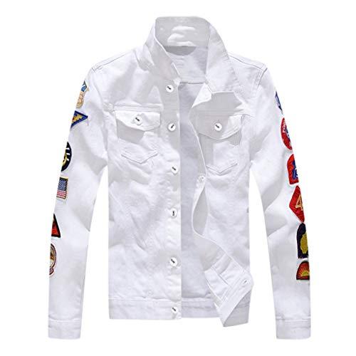 Beppter Men's Denim Jacket Slim Fit Outdoor Lightweight Jackets Coat(White,US Size XL = Tag 2XL)