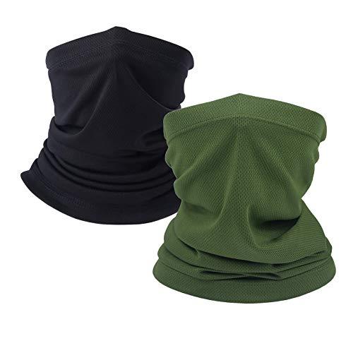 Coyote Brown Neck Gaiter, tan face mask bandanas men cooling summer, half face covering women (1pc olive green & 1pc black)