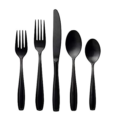 Radley & Stowe 20-Piece Flatware Solid Stainless Steel Silverware Set (Designer Grade with Black Matte Finish)