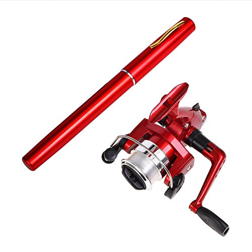 Gooteff 39inch Mini Portable Pocket Aluminum Alloy Fishing Rod Pen and ABS Reel Fish Wheel Set for Outdoor Travel Surf Saltwater Freshwater Bass Boat Fishing (Red)