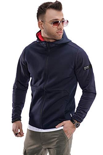 JACK & JONES Herren Sweatjacke Hoodie Übergangsjacke Kapuzenjacke Pullober Sweatshirt (S, Sky Captain)