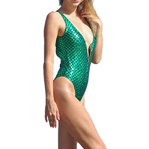 Wintialy Women Sexy Mermaid Thong Bikini Monokini Swimsuit Swimwear Bathing Beachwear Green