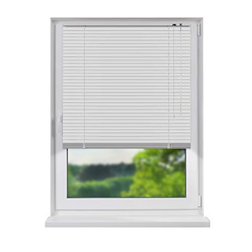 Fensterdecor Aluminium Jalousie, hochwertige Alu-Jalousie in Weiß mit Zugschnur und Drehstab, Jalousette mit Lamellen für den Innen-Bereich, zum Verschrauben und Bohren, 120 x 130 cm