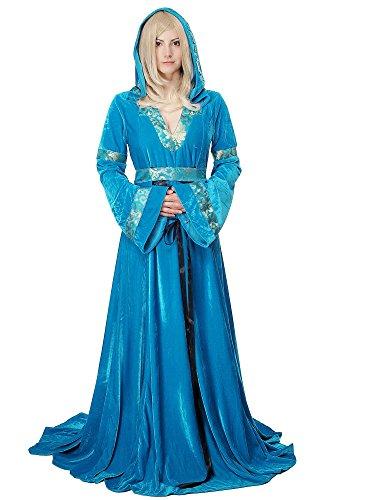 Kostüm Damen Damenkostüme edles & aufwändiges, langes Kleid Elfe Waldelfe Märchen Mittelalter Cosplay L067 Gr. 38 / S