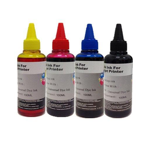 KIT Ricarica cartucce 4 x 100ml universale inchiostro colori per Brother , Canon , Epson , HP , LEXMARK , XEROX , DELL.
