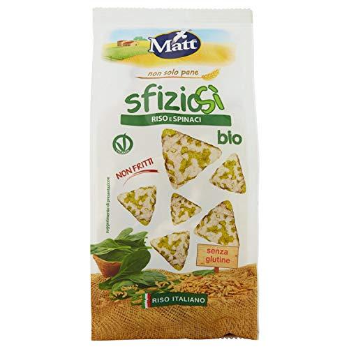 Matt SfizioSì Riso Integrale, Spinaci Bio Croccanti Snack Salati Non Fritti - 60 g