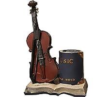 TEAYASON 鉛筆ホルダーホームクリエイティブバイオリンペンホルダー、個性のあるシンプルでスタイリッシュなレトロデスクトップオーガナイザー、オフィスデスクトップ楽器モデルの装飾品,青,13 * 8 * 20Cm
