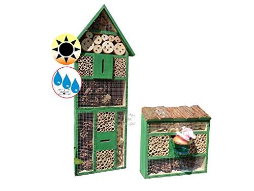 BTV Batovi 2 x Bienenhotels, mit Lotus+2xBrutröhrchen, Spitzdach groß, Flachdach Insektenhaus + Bienenhaus mit Bienentränke, Insektenhotel, mit Lotus+2xBrutröhrchen, Ausführung GRÜN hellgrün