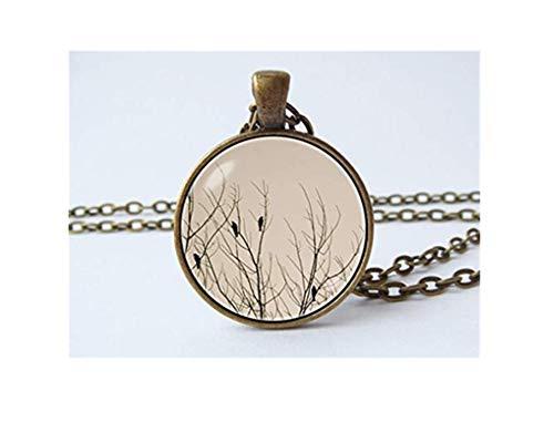 Baum-Halskette, Naturschmuck, Baumschmuck, Vogel-Anhänger, Geschenk, kuppelförmige Glasornamente, handgefertigt, ein schönes Geschenk.