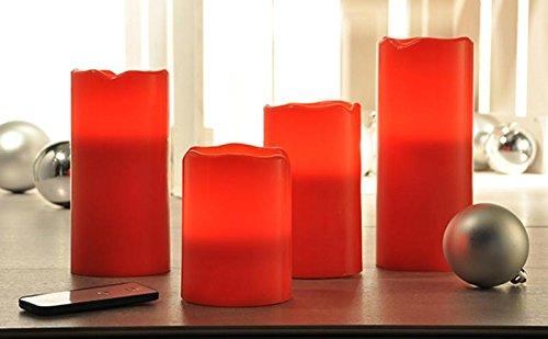 Gravidus schönes 4er Set flammenlose LED-Echtwachskerzen