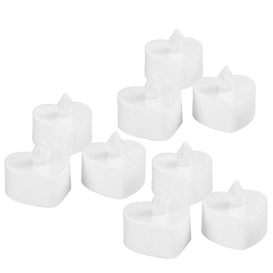 移動カウント拮抗するBESTOYARD 10個のLed茶ライトは、電池が作動する無炎Tealightキャンドル暖かい黄色のライトは、ハートシェイプのクリスマスのウェディングパーティの装飾(白いシェル、黄色のライト)