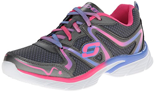 Skechers Girl's Jump Upz Gunmetal and Multicolor Mesh Sports Shoes