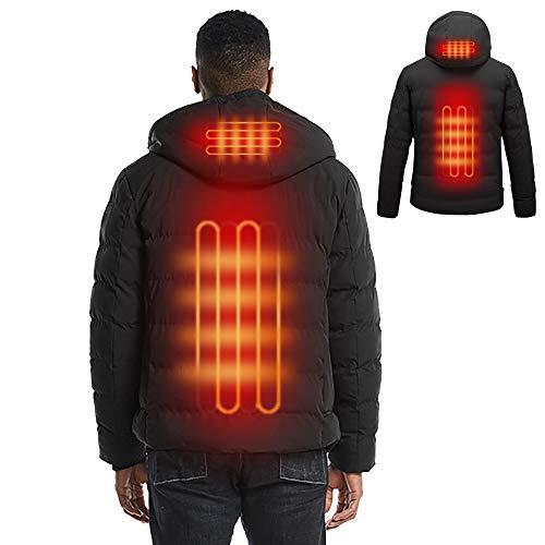 Abrigo con calefacción para hombre Abrigo de invierno cálido con capucha Chaqueta eléctrica USB ajustable Outwear [Batería NO incluida] (6XL, Negro)