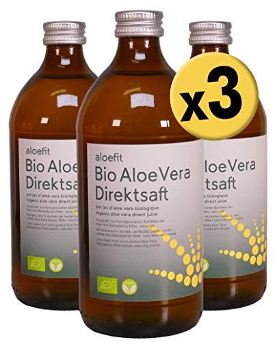 Aloe Vera Bio Saft Aloefit Aloeverose Vegan Direktsaft Rainbow Aloe Vera Juice organisch natürlich (3 x 500ml)