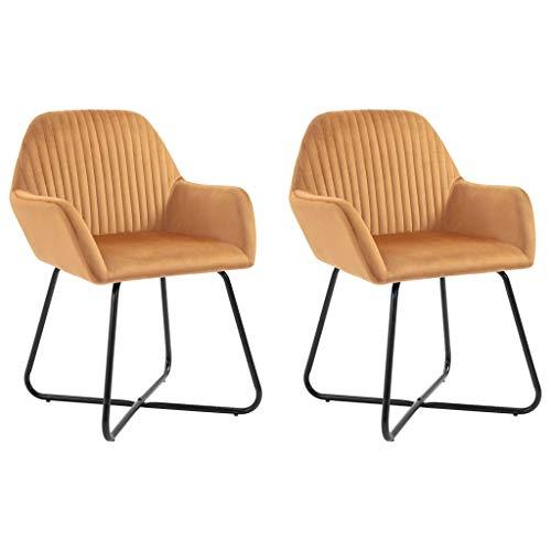 Juego de 2 sillas de comedor de terciopelo, modernas de cocina con respaldo y reposabrazos, patas de acero barnizado con polvo, 61 x 61 x 84 cm, color ocre