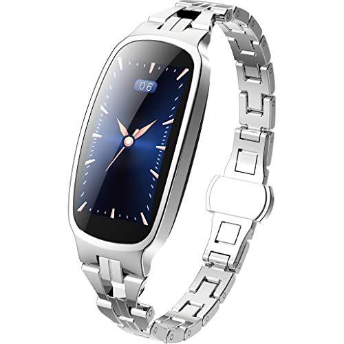 Aomili Fitness Tracker,Smartwatch Wasserdicht IP67 Fitness Armband mit Pulsmesser 0,96 Zoll Farbbildschirm Aktivitätstracker Pulsuhren Schrittzähler Uhr Smart Watch Fitness Uhr für Damen (Silber)