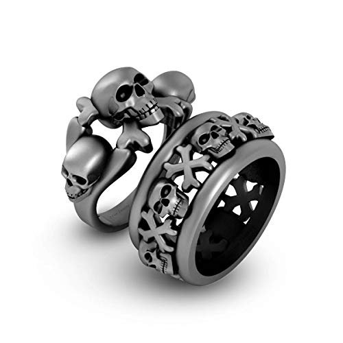 Gun Metal Fn Solid 925 Silver Skull Couple Rings Pirates Skull and Crossbones Matching Engagement Ring Band Set