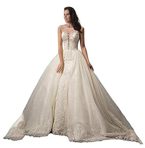 Tsbridal Detachable Train Wedding Dress Lace Mermaid Wedding GownsXC389-White8