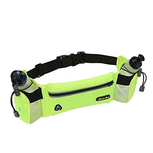 QSCTYG Correr Botella Cinturón con 2 Agua Reflectante Cinturón Hombres Mujeres Paquete de la Cintura del Deporte al Aire multifunción Correr Bolsas riñonera Deportiva (Color : Green Color)