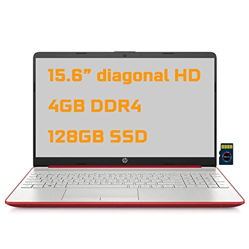 "2021 HP Notebook 15 Premium Laptop 15.6"" Diagonal HD Display Intel Pentium Gold 6405U 4GB DDR4 128GB SSD Intel UHD Graphics HDMI USB-C WiFi Webcam Win10 + Delca 32GB MicroSD Card"