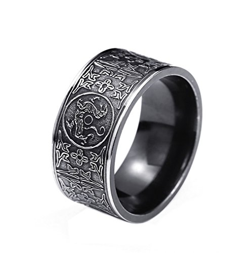 CHLOBG Men's Stainless Steel Four God Beast Black Narrow Version Gothic Punk Biker Ring Size 11