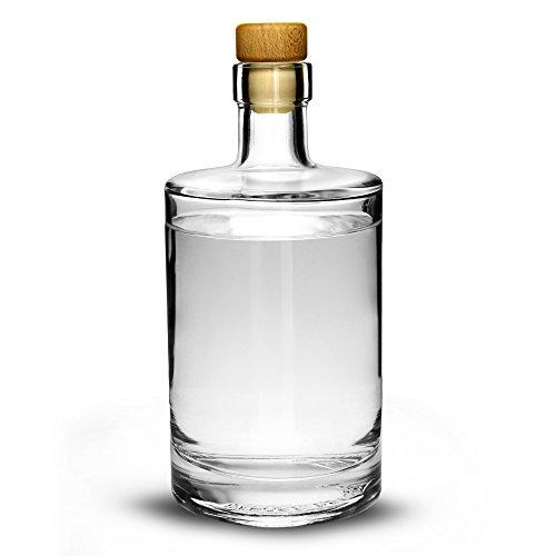 Drinkstuff Glasflasche mit Korken 500ml– Flasche für hausgemachten Gin