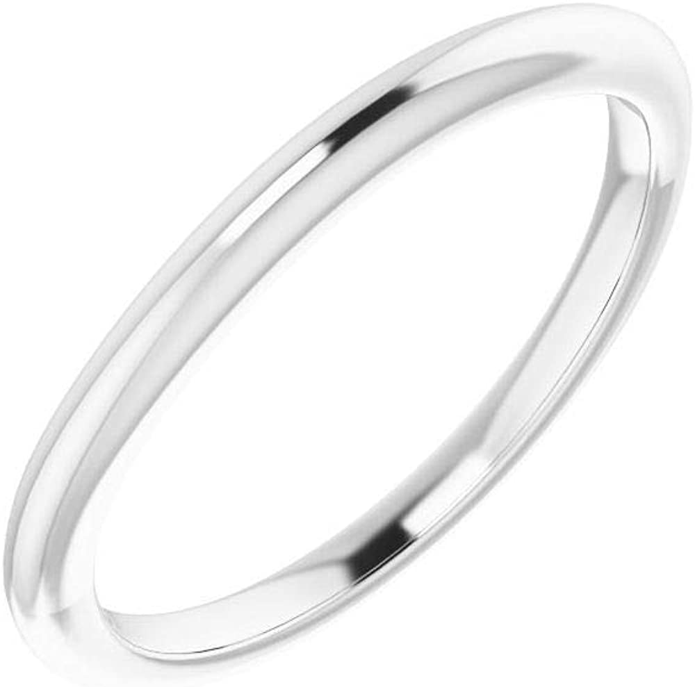 Solid 14K OFFicial shop White Gold Curved Notched Round Spasm price Band Wedding for 4.4mm