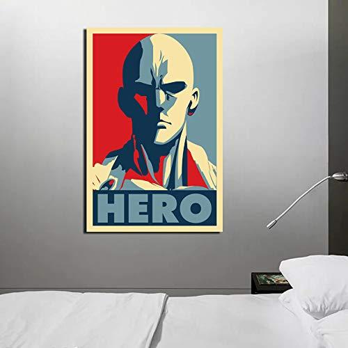KWzEQ Vintage Poster Anime Held Mann Leinwand Malerei Wohnzimmer Hauptdekoration Moderne Wandkunst,Rahmenlose Malerei,50x75cm
