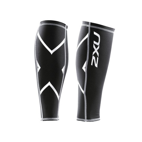 2XU Compression Calf Guards, Black/Black, Small