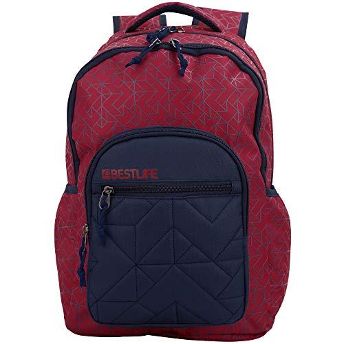 """BESTLIFE Mochila Unisex """"Just"""" Mochila Escolar, para el Tiempo Libre con Compartimento para el portátil hasta 15,6 Pulgadas (39,6 cm), Rojo/Azul"""