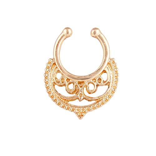 1 PCS Septum Piercing Forma de U de La Vendimia Piercing Hombre Oro