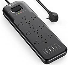 Power Strip iClever Surge Protector 1875W/15A with 3 Line 4200J 4 USB Charging Ports(5V/4.8A) 12 AC Outlets 6.6ft Extension Cord Flat Plug USB Power Strip Wall Mount ETL Listed for Home Office Dorm