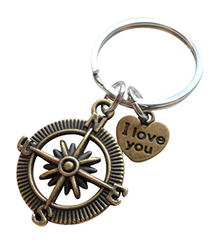 "Bronze Open Metal Compass Keychain with""I Love You"" Heart Charm- I'd Be Lost Without You; 8 Year Anniversary Gift, Couples Keychain"