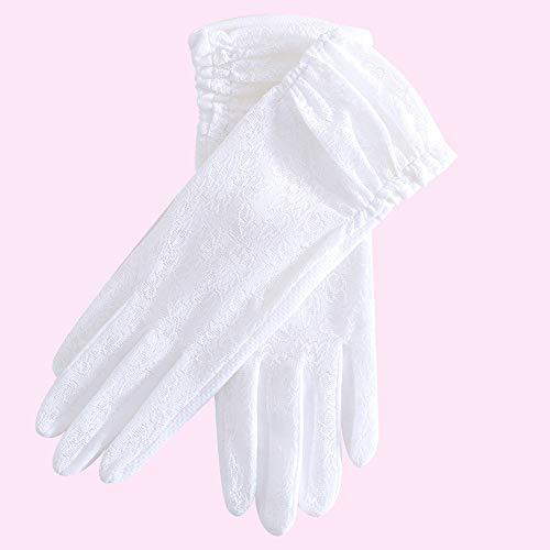 BPFSST - Guantes Cortos de Verano para Mujer, de Encaje, de Seda, Antideslizantes, con protección UV, Antideslizantes, elásticos